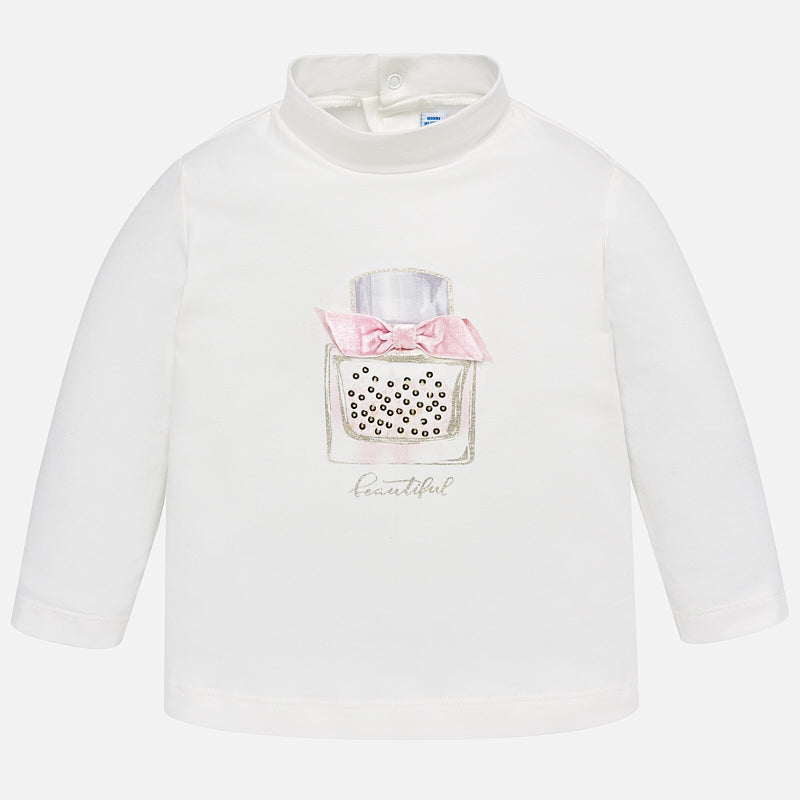 Baby girls graphic print mockneck turtleneck shirt, white and pink