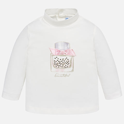 2000 Mayoral Girls Mock Neck Long Sleeve Graphic Print, Perfume Pink