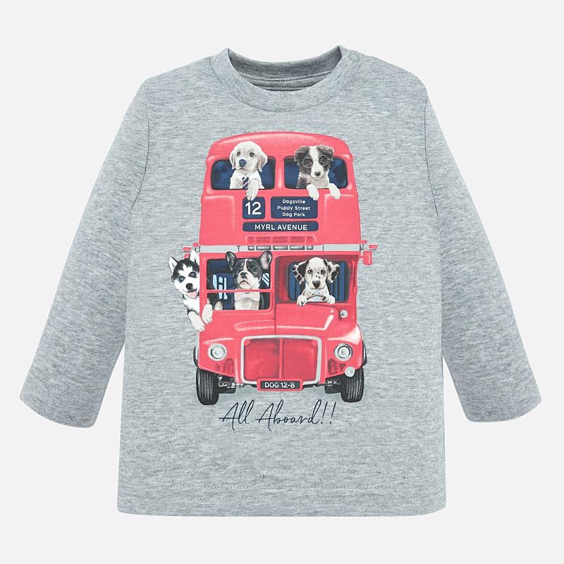 2027 mayoral grey l/s graphic t-shirt with puppies in double decker bus print