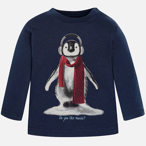 Mayoral 2048, Penguin, Do You Like Music, L/S Tee, Navy
