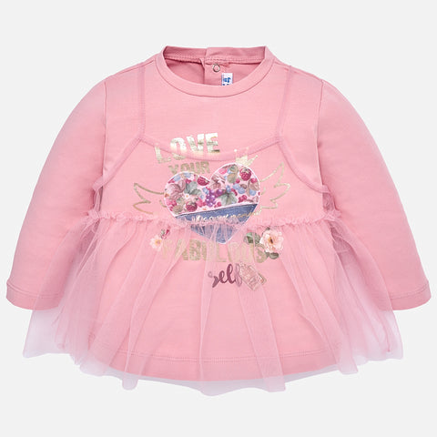 2064 Mayoral Girls Layered Long Sleeve Graphic Print Shirt, Petal Pink