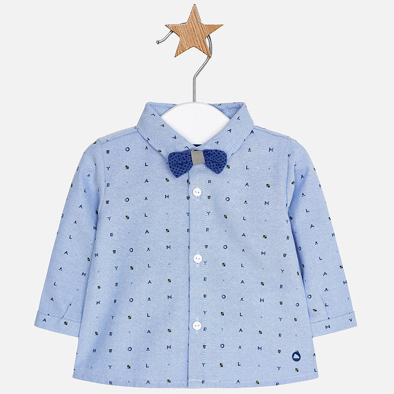 boys blue button up dress shirt, chambray, lettered, mayoral boys 2104
