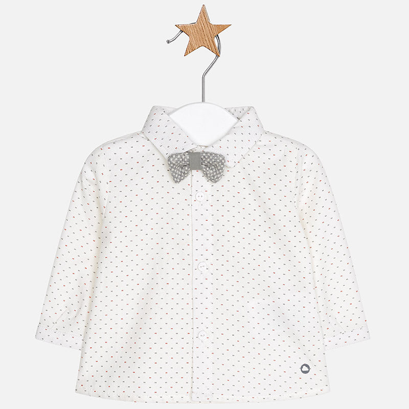 baby boys white dress shirt, grey removable bowtie, mayoral 2104