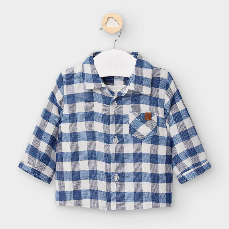 2118 Mayoral Faux Layered Soft Button Up, Check French Blue
