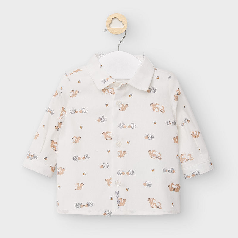 Mayoral 2120 boys dress shirt, squirrel hedgehog woodland print
