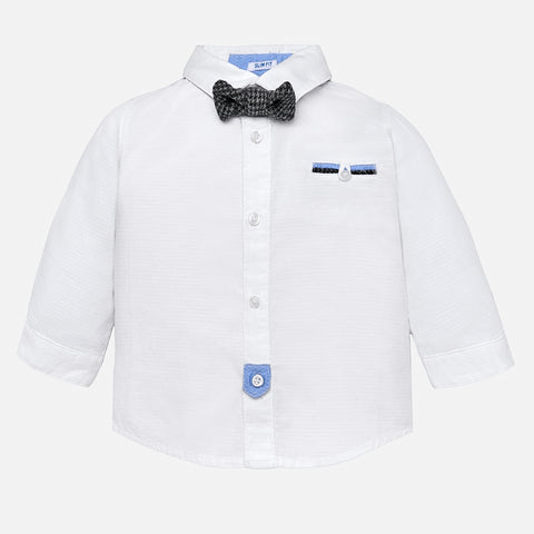 2128 Boys White Dress Shirt, Grey Houndstooth Bow Tie