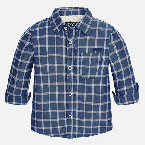 Mayoral 2135 Indigo Sheerling Plaid Button Up