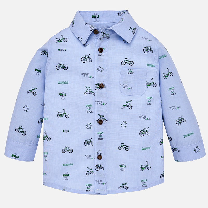 little boys blue dress shirt, bicycle print, go green