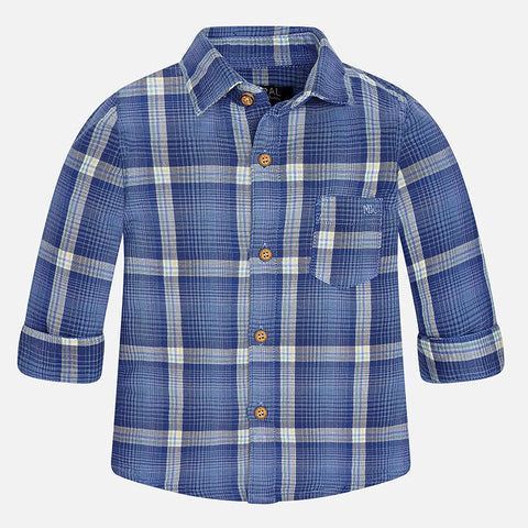 Mayoral 2147 Double Woven Blue Plaid Button Up Boys Shirt