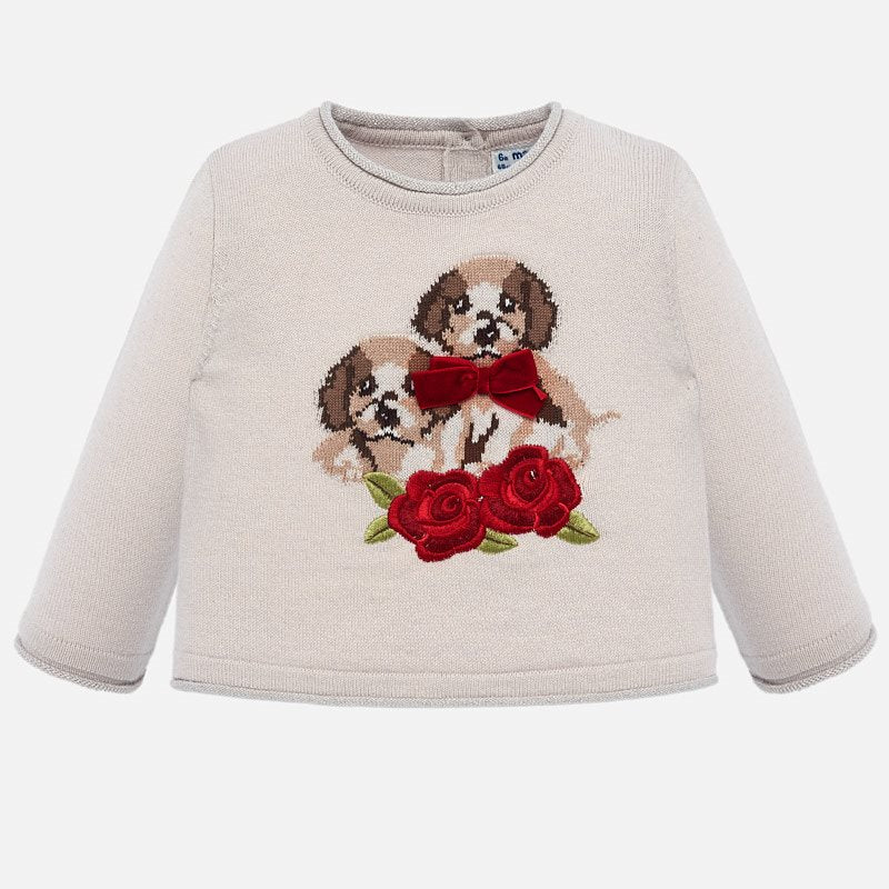 2312 Mayoral Front of Sweater; Velvet with 2 Puppies Printed with Roses