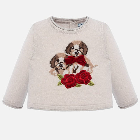 2312 Mayoral Velvet Knit 3D Puppy Sweater w/ Roses