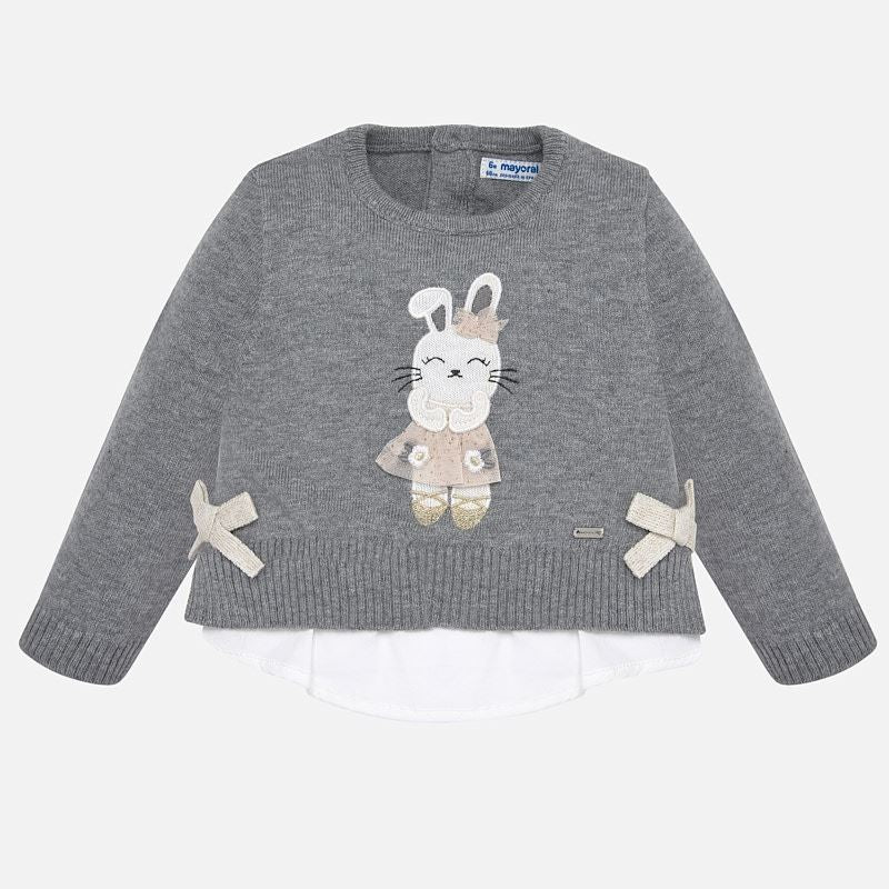2314 Mayoral Front of Grey Sweater with Bunny and Two Bows