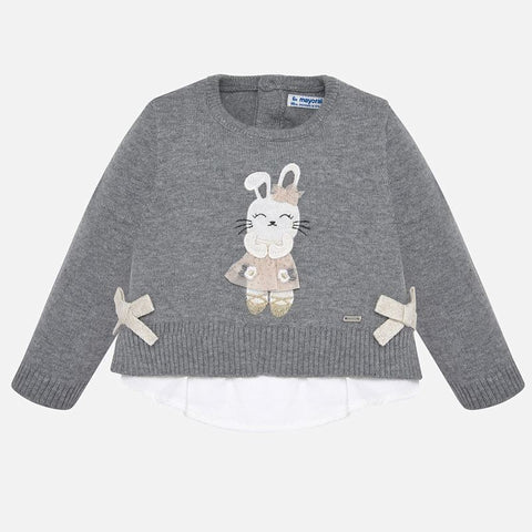 2314 Mayoral Grey Faux Layered 3D Bunny Sweater