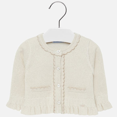 2315 Mayoral Gold Lurex Knit Ruffled Cardigan