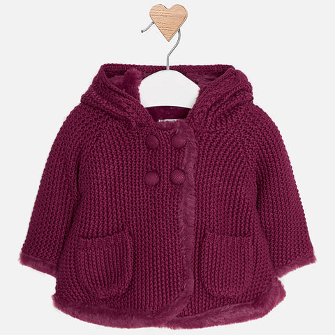 2316 Mayoral - L/S Faux Fur-lined Knit Coat w/Hoodie, Plum
