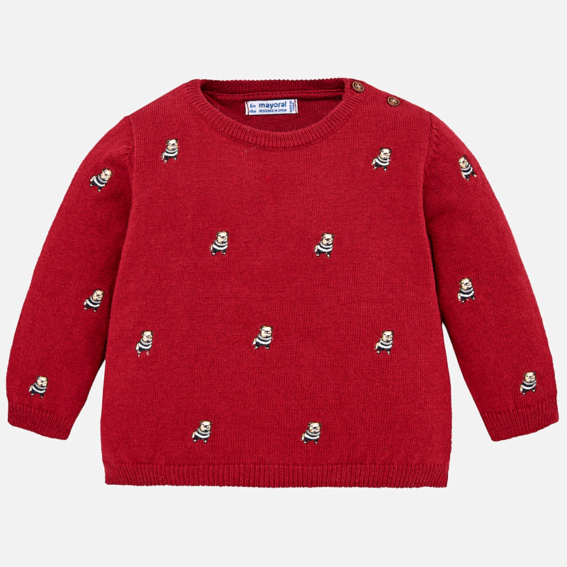 Mayoral 2320 Boys Crewneck Knit w/Bulldog Embroidery - Goji Red