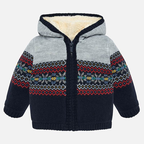 2332 Mayoral Woven Knit Faux Fur Jacket