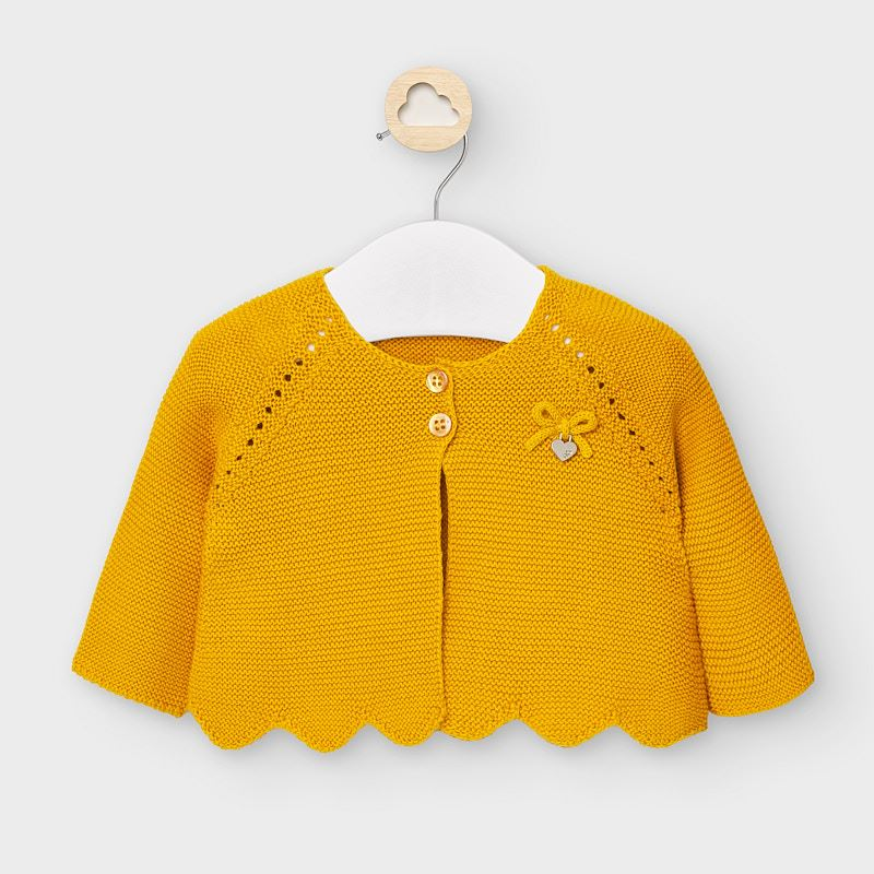 mayoral baby girl knit cardigan sweater mustard yellow, turmeric