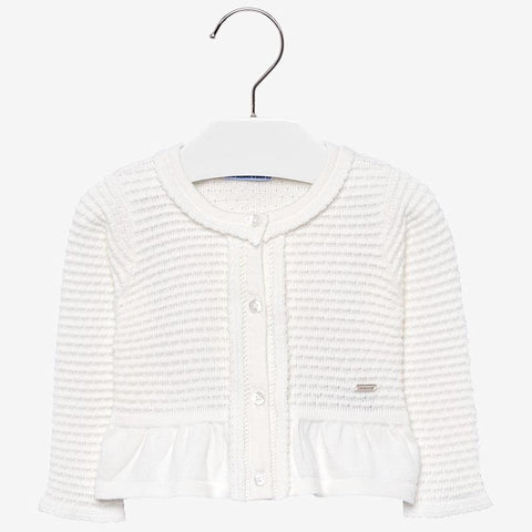 2336 Mayoral Girls Knit Cardigan w/Bow, Off-White