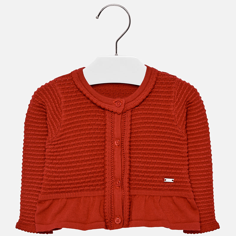 girls cardigan sweater, knit, red with bow and buttons