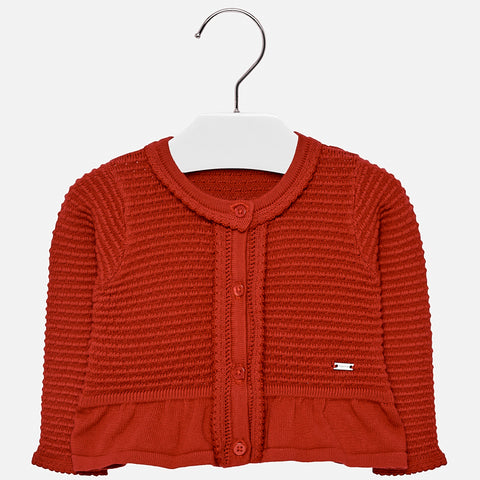 2336 Mayoral Girls Knit Cardigan w/Bow, Red