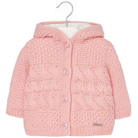 Mayoral 2339, Chunky Knit, Faux Fur Lined Hoodie Cardigan, Pink