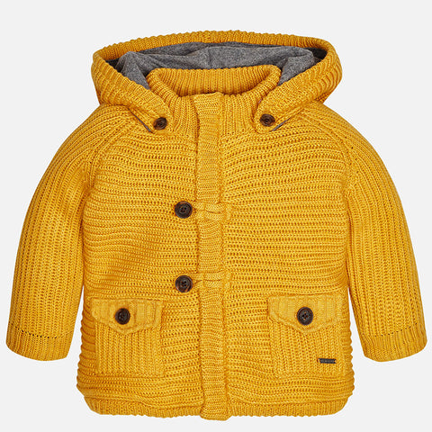 Mayoral 2343 Mustard, Fleece Lined Chunky Knit Zipper Hoodie