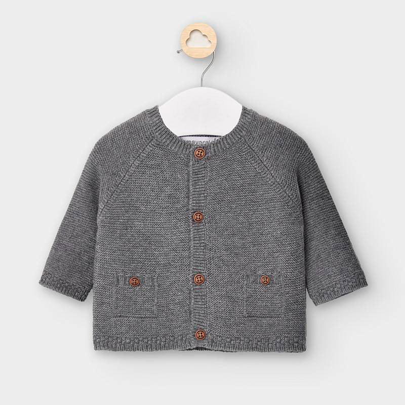 2334 Mayoral Knit Cardigan Sweater, Grey w/Brown Buttons