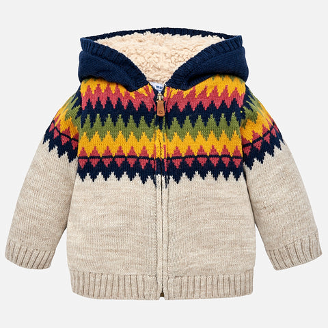 2346 Mayoral Woolen Knit Zippered Hoodie Sweater, Zig Zag