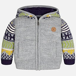 Mayoral 2349 Zipper Knit Hoodie w/Pockets, Grey