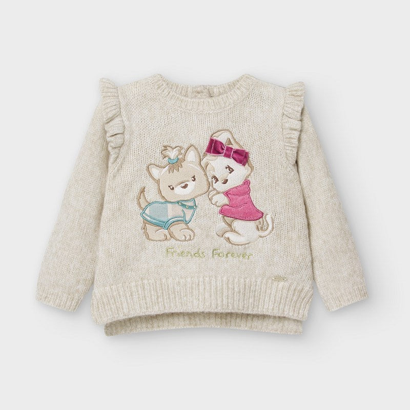 Mayoral girls Best Friends Forever Knit Puppy Sweater, 2357