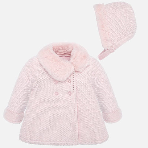 2407 Mayoral Baby Pink Knit Coat With Bonnet