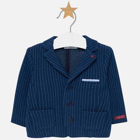 2414 Mayoral Boys White Pinstriped Blue Knit Jacket Blazer