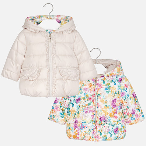 Mayoral 2426, Reversible Puffer Coat, Toddler Floral/Champagne