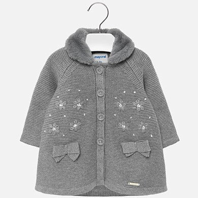 2427 Mayoral Girls Steel Grey Tricot Coat w/ Detachable Faux Fur