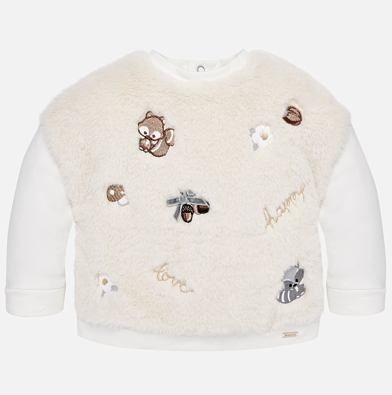 faux fur ivory sweatshirt, little girls squirrel motif fall sweater