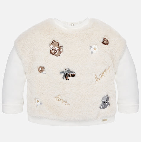 2431 Faux Fur Crew Neck Sweater w/Embroidered Squirrel Motif