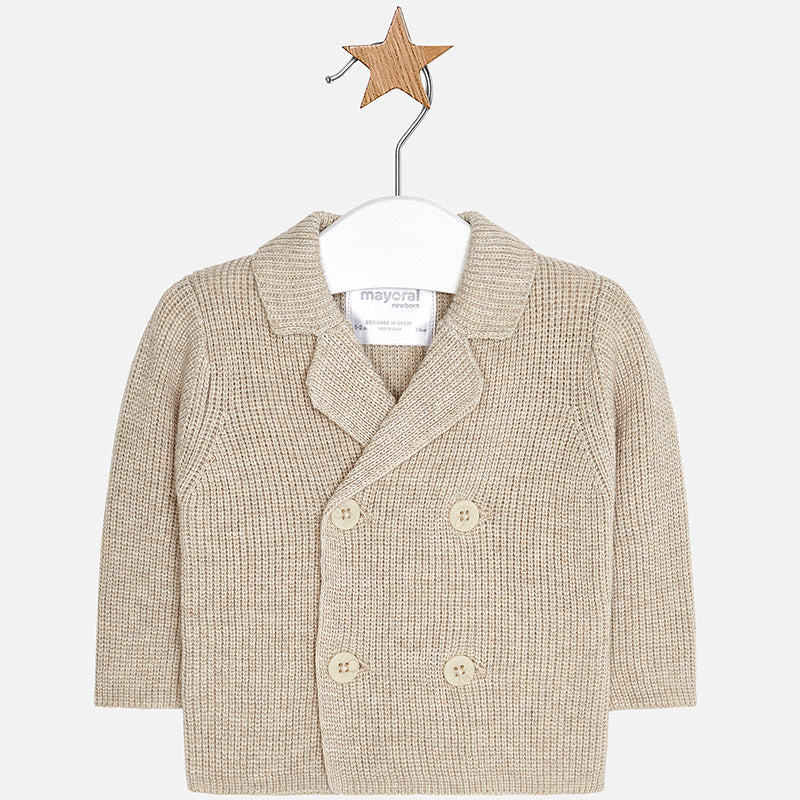 2432 Mayoral Baby Double Breasted Knit Cardigan - Oatmeal