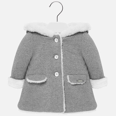 2436 Mayoral Faux Fur Lined Hooded Grey Overcoat