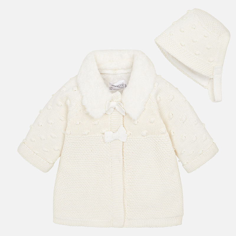 faux fur lined knit coat, sweater, baby girl, ivory with bonnet, mayoral 2444
