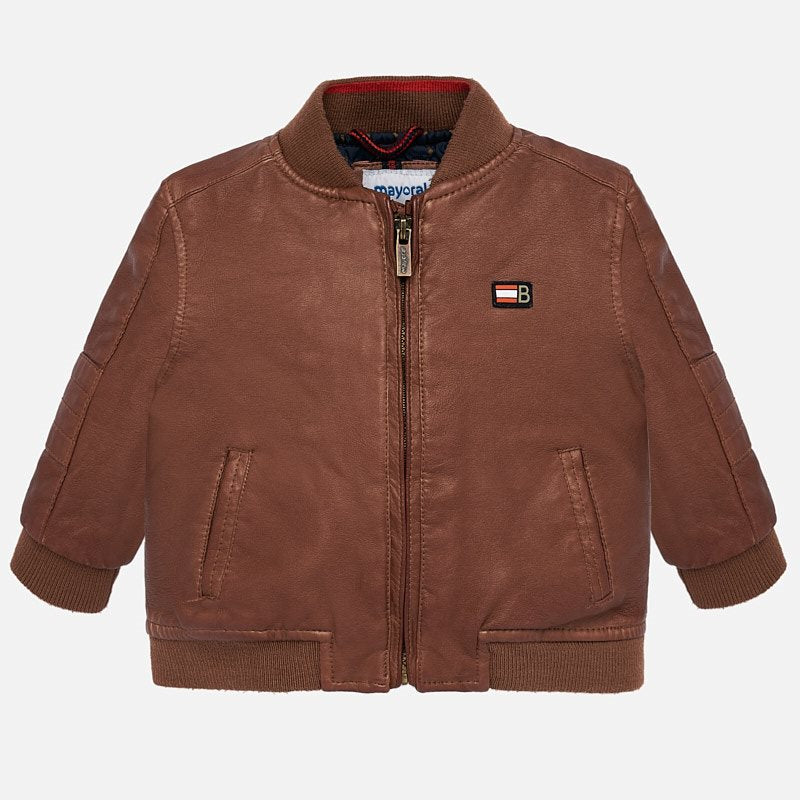 "mayoral 2444 oil rubbed brown bomber ""leatherette"" jacket"