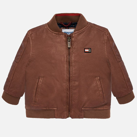 "2444 Mayoral Oil Rubbed Brown Bomber ""Leatherette"" Jacket"