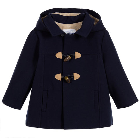 Mayoral 2446, Classic Velvet Lined Paddington Coat, Navy