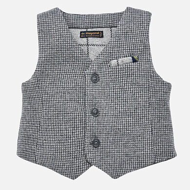 little boys dress up vest, houndstooth, grey button front satin back, Mayoral 2458