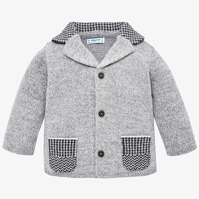 toddler boys grey cardigan, houndstooth, button up with elbow pads