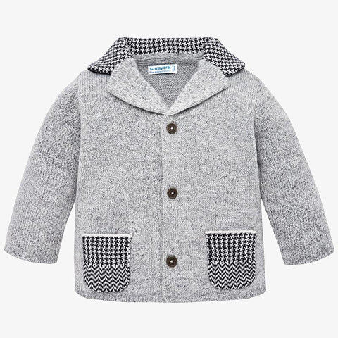 2464 Mayoral Boys Classic Sweater, Button Cardigan Grey w/Houndstooth