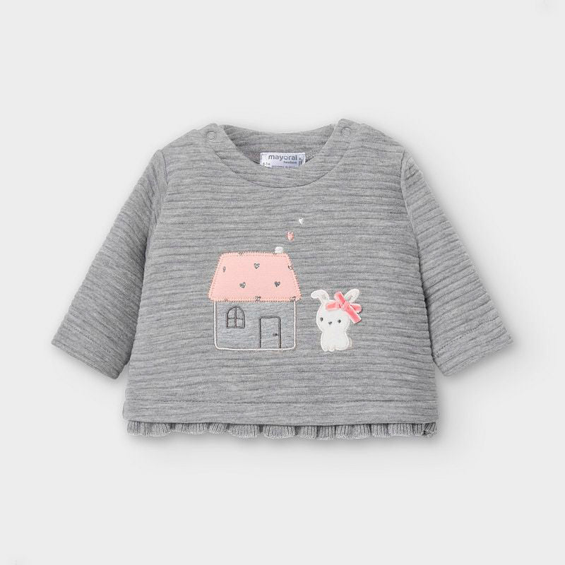 2464 Mayoral Quilted Embroidered Sweatshirt w/Ruffles, Bunny Grey