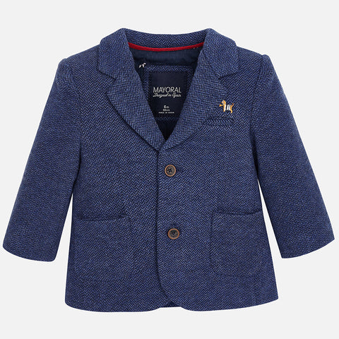 Mayoral 2467 Knit 2 Button Sport Jacket, Dachshund, Blue