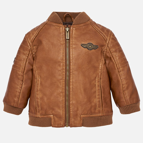 2472 Mayoral Oil Rubbed, Aged Leatherette Bomber Jacket