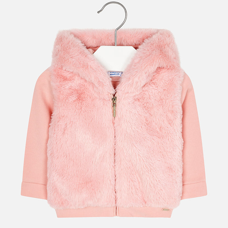 little girls toddler hoodie, faux fur, pink zippered coat